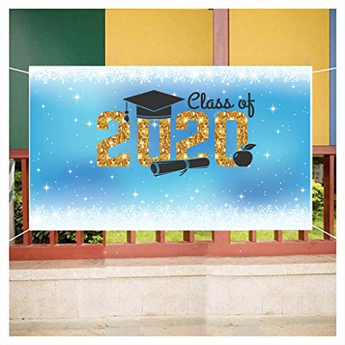 Congrats Grad Backdrop 2020 Graduation Decorations Golden Glittering Class of 2020 Wording Prom Party Banner Graduation Cap Selfie Portrait Photography Background Booth Studio Props 5X3 Ft(B)