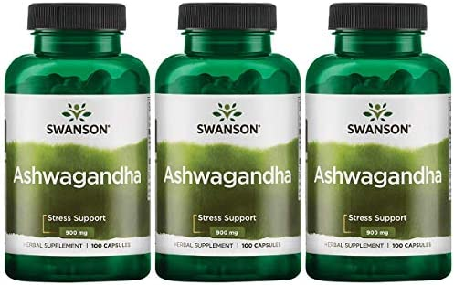 Swanson Premium Ashwagandha Powder Supplement: 450 MG Ashwagandha Root Dried Powder - Pure Ashwagandha Supplements for Stress Relief and Energy Support - 100 Gelatin Capsules