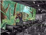 ZYLNB 3D-Tapetenaufkleber, Wandsticker, Elefanten-Landschaft, Wohnzimmer, Hintergrund, Umweltkunst, Kinderküche, 450X350CM