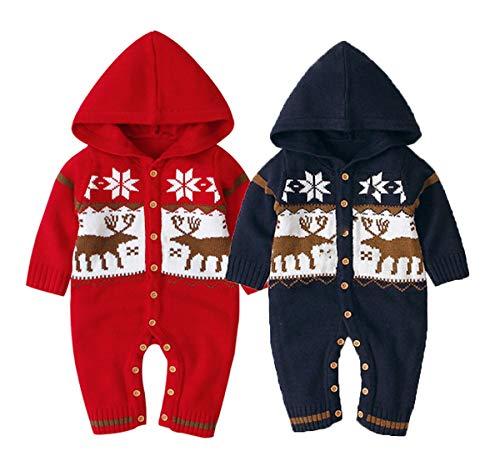 Hailouhai pasgeboren baby meisjes capuchon Jumpsuit trui, meisjes lange mouwen breien vest beer oor warme trui Jumpsuit outfits