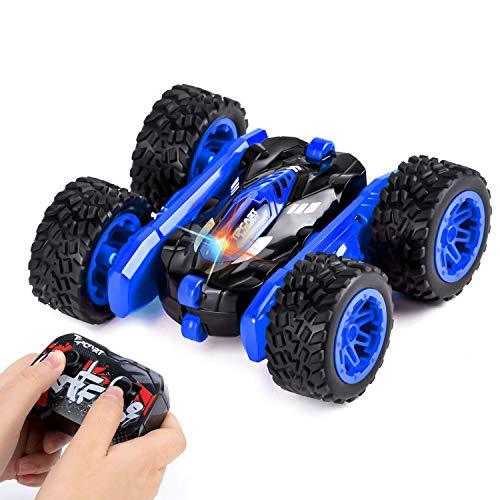 Sundaymot Ferngesteuertes Auto, RC Stunt Auto Rennauto, doppelseitige 2.4 Ghz Fernsteuerung Spielzeugauto, 360-Grad-Spin und Flip 4WD Buggy Auto, Geschenk für Kinder (Blau)