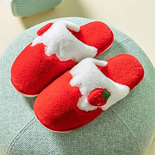 Zapatillas De Algodón,Invierno Caliente Dibujos Animados Rojo Fresa Frutas Frutas Mujeres Suave Resbaladizo Zapatos Esponjosos Resbaladizos En Diapositivas Acogedora Casa Zapatillas Interiores D