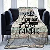 Extra Soft Vintage Wooden Door Happy Camper Throw Wrap Cover, Sherpa Plus Velvet Camping Blanket Throw Wearable Blankets, Keep Warm Blankets for Bed Couch Sofa, Kid 40'x50'