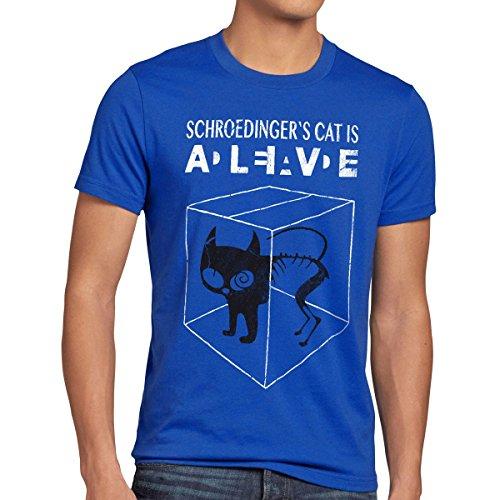 style3 Sheldon Schroedingers Katze Herren T-Shirt, Größe:L;Farbe:Blau