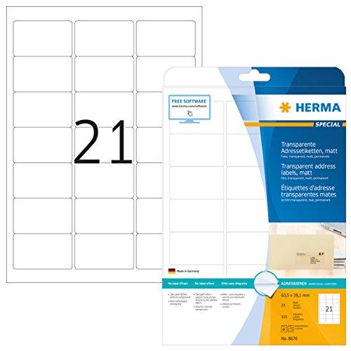 HERMA 8670 Wetterfeste Folien-Etiketten DIN A4 transparent (63,5 x 38,1 mm, 25 Blatt, Polyesterfolie, matt) selbstklebend, bedruckbar, permanent haftende Klebefolie, 525 Klebeetiketten, durchsichtig