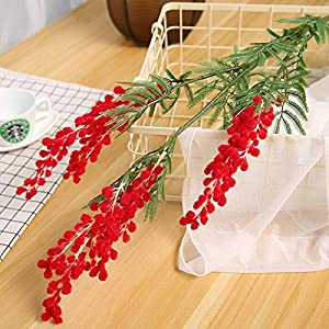 Artificial and Dried Flower 88cm 3 Branches Artificial Acacia Yellow Mimosa Pudica Spray Fake Silk Flower Wedding Party Event Decor Red Bean Plant for X'Mas – ( Color: Red )