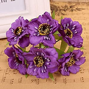 Artificial and Dried Flower 6pcs/lot 3.5mm Artificial Poppy Flowers Mini Silk Cherry Blossoms Fake Rose Flower Bouquet Wedding Decor Scrapbooking Wreath – ( Color: H )