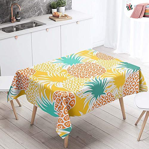 Manteles de Mesa Mantel, Morbuy Rectangular Impresión 3D Tropical Piña Impermeable Antimanchas Lavable Manteles para Cocina o Salón Comedor Decoración del Hogar (Naranja Verano,140x160cm)