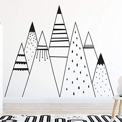 BailongXiao Handzeichnung Berg Muster wandtattoos Nordic Mountain Vinyl wandaufkleber kinderzimmer wandmalerei wandbilder Berg abziehbilder 75x63cm