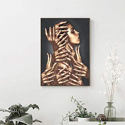 Puzzle 1000 Piezas Arte Abstracto Dibujar a Mano Femenina en Juguetes y Juegos Gran Ocio vacacional, Juegos interactivos familiares50x75cm(20x30inch)