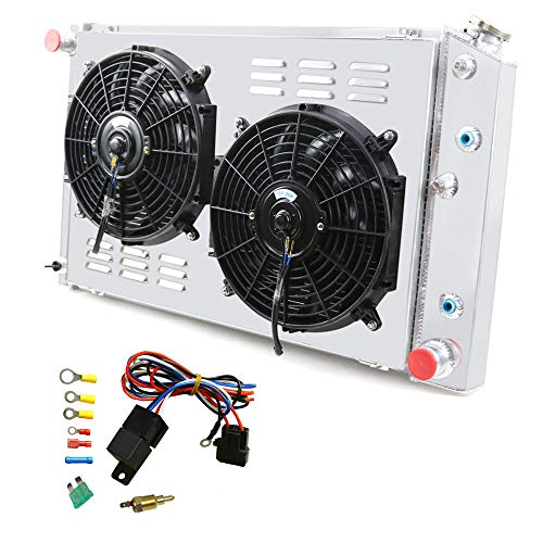 OzCoolingParts 3 Row Core Aluminum Radiator + 2 x 10' Fan w/Louver Shroud + Thermostat/Relay Kit for 1970-1987 71 72 73...