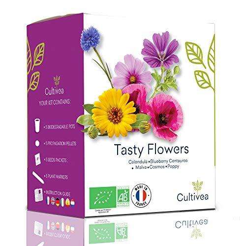 Cultivea Tasty Flowers – Bio Blumen Anzuchtset -100% Öko Samen – Indoor Garten – Das perfekte Geschenk – (Cosmos, Malva, Blueberry, Poppy & Calendula) – DIY – (Tasty Flowers)