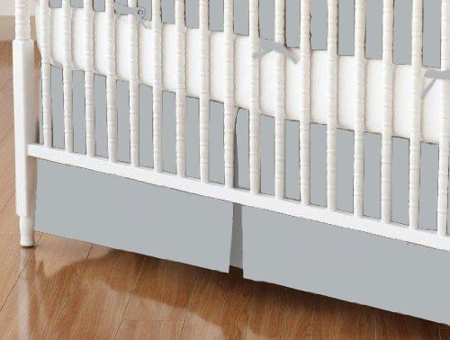 SheetWorld - MINI Crib Skirt (24 x 39) - Solid Grey Woven - Made In USA by...