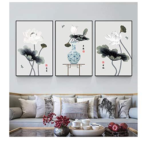 Arte de Pared Pintura de Tinta China Lotus Floral póster Impreso Lienzo Pinturas clásicas imágenes artísticas de Pared decoración de Sala de Estar sin Marco