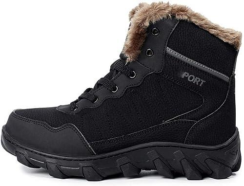 CWXDIAN Chaussures de randonnée en Plein air antidérapantes pour Hommes Bottes de Neige Chaudes Chaussures Confortables pour Hommes, Noires, 39