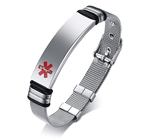 VNOX Nombre Personalizado de Acero Inoxidable Grabable ID de Alerta Médica Ice Pulsera Ajustable Sos Emergencia Personalizada para Hombres Mujeres