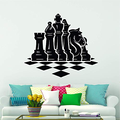 Wall Stickers Decal for Living Room Chess Wall Decal Check Mate Vinyl Sticker Playing Chess Décor for Boys Girls Room Bedroom Shop Office Decoration 39.4 in