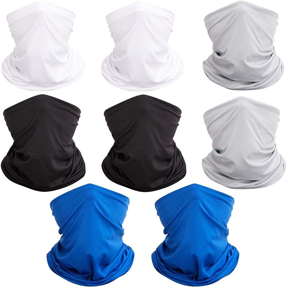 8 Pack Bandana Headbands for Women Men Sweat Wicking Neck Gaiter Balaclava Head Scarf Sweat-wicking & Breathable