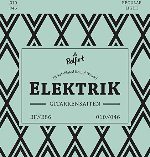 Belfort® elektrische gitaarsnaren - eersteklas stalen snaren voor elektrische gitaar (6-snarenset) Incl. 3 plectra + extra hoge E-snaar