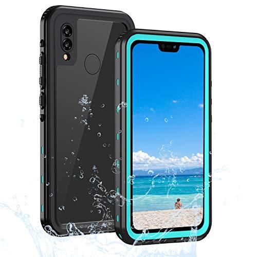 Lanhiem für Huawei P20 Lite Hülle, IP68 Wasserdicht Handyhülle Huawei P20 Lite 360 Grad Schutzhülle, Stoßfest Staubdicht und Schneefest Outdoor Panzerhülle mit Eingebautem Displayschutz, Blau