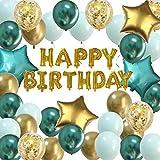 Birthday Decorations Mint Green Gold - Happy Birthday Balloons Chrome Green Set Foil Bannner for Kids Men Women Bday Party Decor Kit Supplies