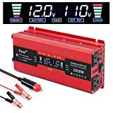 IpowerBingo Power Inverter 800W/2000W Dual AC Outlets and Dual USB Charging Ports DC 12V to 110V AC Car Converter with Digital...