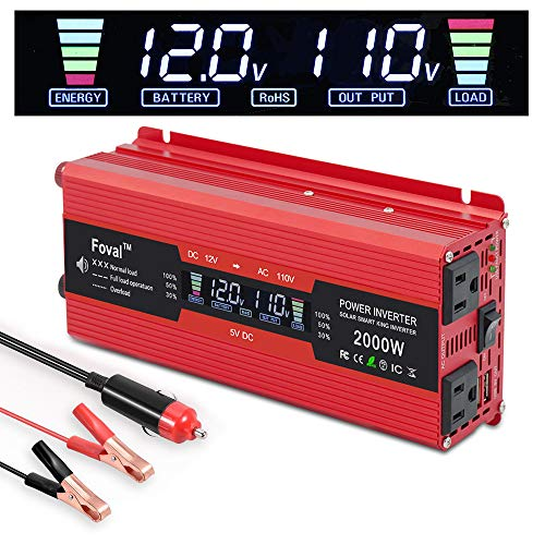 IpowerBingo Power Inverter 1000W/2000W Dual AC Outlets and Dual USB Charging Ports DC 12V to 110V AC Car Converter with Digital Display