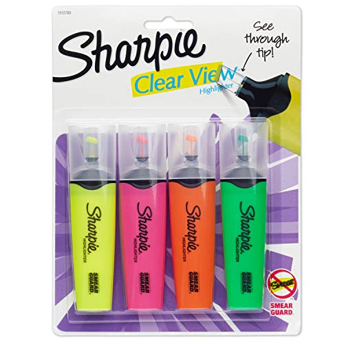 Sharpie 1912769 Clear View Highlighters, Chisel Tip,...