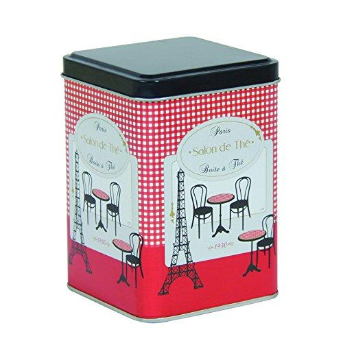 Novastyl 8010004 Guinguette Boîte à The de Contenance Métal Rouge 8,7 x 8,7 x 12,6 cm 250 g