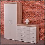 MMPTN 2 Door Wardrobe 4 4 Drawer Chest In Oak Bedroom Furniture Set,White
