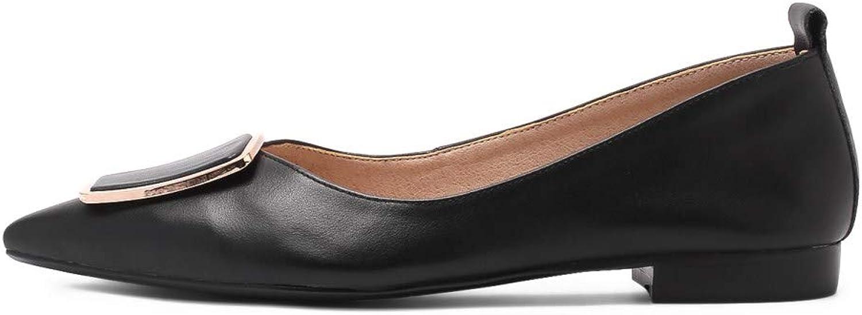Nio Sju Kvinnors Genuine Genuine Genuine läder Clear Pointed Toe Handgjorda Comfortable Flat Heel gående Pump skor  shoppa nu