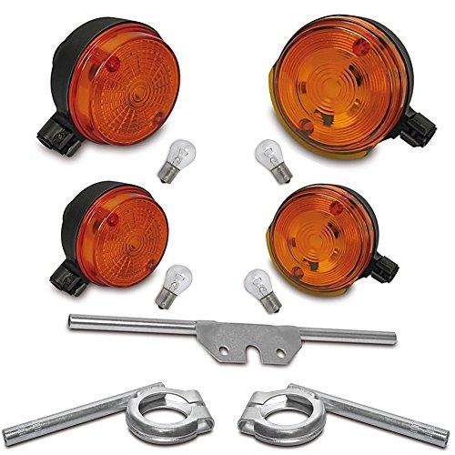 6V Blinker SET: 4 Blinker mit E-Zeichen - Orange + Halter vorn + hinten + 6V Lampen Ba15s