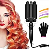 3 Barrel Curling Iron Wand Hair Waver Iron Ceramic Tourmaline Hair Crimper with 4 Pieces Hair Clips and Heat Resistant Glove, Curling Waver Iron Heating Styling Tools (Black)