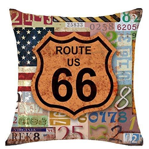 BorisMotley Funda de almohada retro siglo pasado pintura al óleo mapa del mundo de madera Ruta 66 Throw funda de cojín algodón lino material decorativo 18 x 18 cuadrado