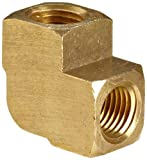 Anderson Metals 56100-04 Brass Pipe Fitting, Barstock 90 Degree Elbow, 1/4