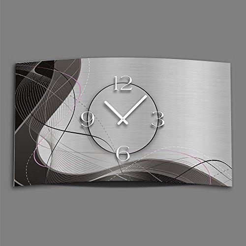DIXTIME Abstrakt grau Designer Wanduhr modernes Wanduhren Design leise kein Ticken 3DS-0053