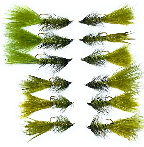 Wooly Bugger Flies - 12 PC - Size 4, 6, 8, 10 - Fly Fishing Streamers Great for Rivers and Lakes (Olive/Black)