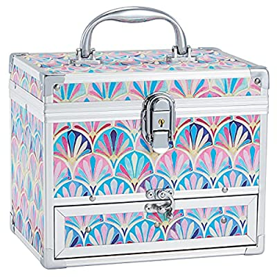 Hododou Girls Jewelry Box Organizer with Drawer & Mirror, Mermaid Tail Style Lockable Storage Case for Kid or Little Girls Jewelry and Hair Accessories from Hododou