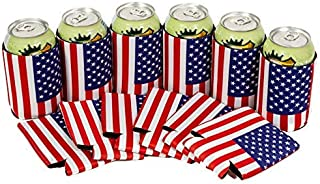 QualityPerfection 6 USA Flag Neoprene Can Cooler Sleeve Collapsible Coolie Economy Bulk Insulation with Stitches Perfect 4 Events,Custom DIY Projects Variety of Colors (6, USA Flag)
