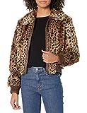 ASTR the label Women's REMY Animal Print Faux Fur Bomber Jacket, Leopard Shadow, M