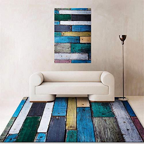 Kunsen Weicher Teppich Kreativer geometrischer Abstrakter moderner Teppich Kleiner Teppich Waschbare und Pflegeleichte dekorative Teppiche Wohnzimmergroßer Teppich Schlafzimmer rutschfester80x160CM