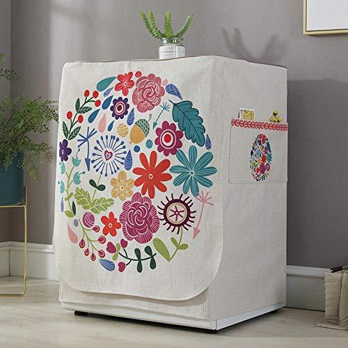 SKYZAHX Funda de Lavadora Cubierta Impermeable para Lavadora/Secadora de Carga Frontal para Lavadora o Secadora (Flor Colorida de Dibujos Animados)