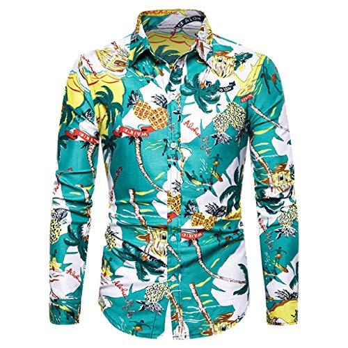 Heren Klassieke Lange Mouw Shirt Mode Hawaii Stijl Pullover Lapel Vrije tijd Diamond Print Sweatshirt Casual Button Slim Fit Blouses Katoen Lichtgewicht Ademende Shirts Losse Tops