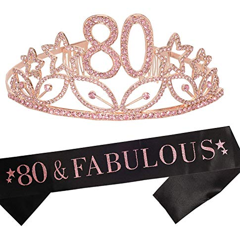 80th Birthday Gifts for Women, 80th Birthday Tiara and Sash, Happy 80th Birthday Party Supplies, 80th Black Glitter Satin Sash and Crystal Tiara Crown for 80th Birthday Party Decorations