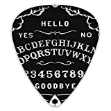 NiYoung Classic Acoustic Guitar Picks for Acoustic Guitar, Electric Guitar, Skeleton Ouija Board Tattoo Black Print Mandolin, and Bass Different Thin 0.96mm 0.71mm 0.46mm Total 12pcs with Case