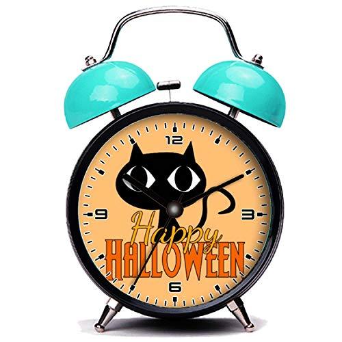 girlsight Blauer Wecker, Nette Katze Glücklich Halloween süße Schwarze Katze Orange Twin Bell Wecker mit Nachtlicht