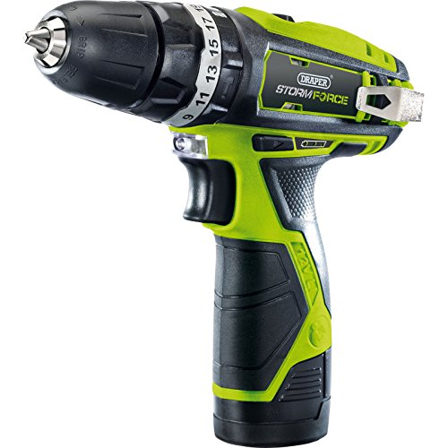 Draper 16049 Storm Force Cordless Hammer Drill with Lithium-Ion Battery, 10.8V, 24.6cm x 8.2cm x 23.6cm, Multicolor