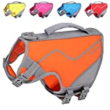 Vivaglory Doggies Life Vest, New Neoprene Sports Style Dog Life Vests for Swimming with Strong Grab Handle for Emergency Rescue, Orange XS