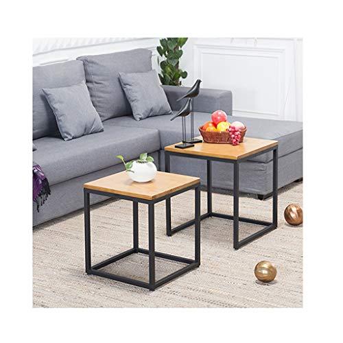 LICHUAN Mesa de café cuadrada de madera, juego de 2 mesas de café laterales de anidación, mesa de café moderna y minimalista, para sala de estar, mesa auxiliar (color: madera)