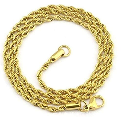 XQXC Men's and Women's Trendy Twisted Copper Chain 18K Gold Plated 4MM Twinkling Rope Necklace Suitable for All Occasions (30)